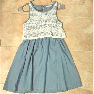 Light wash dress with lace top